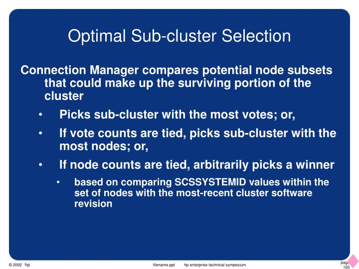 Optimal Sub-cluster Selection