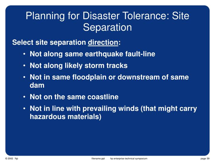 Planning for Disaster Tolerance: Site Separation