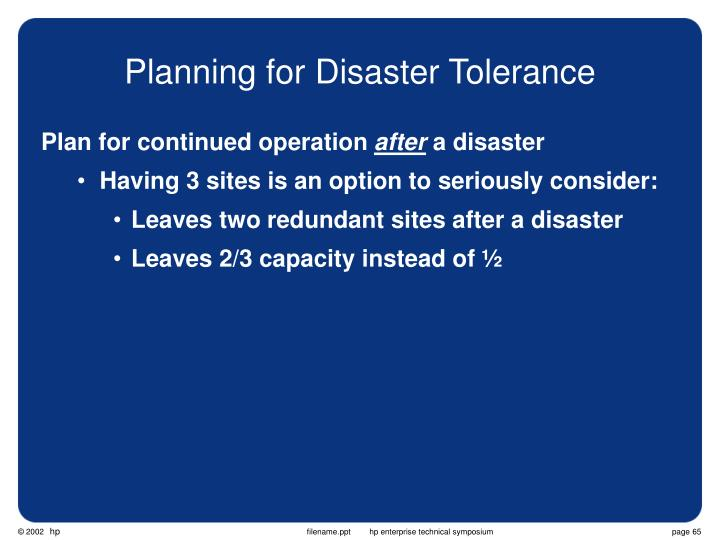 Planning for Disaster Tolerance