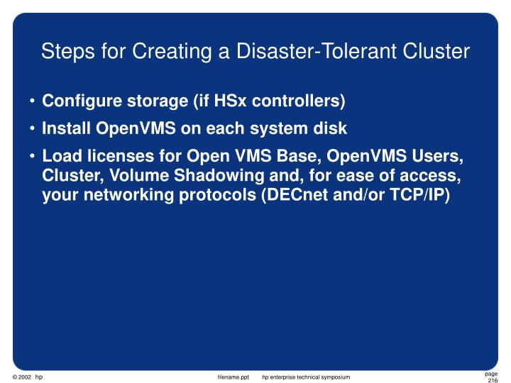 Steps for Creating a Disaster-Tolerant Cluster