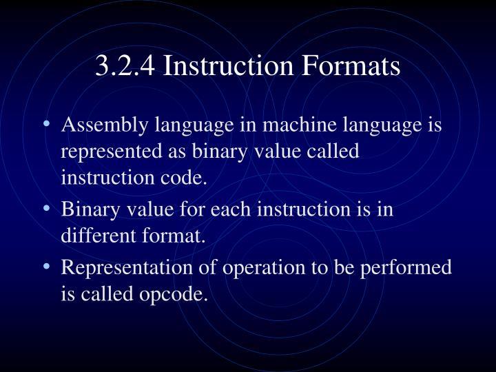 3.2.4 Instruction Formats