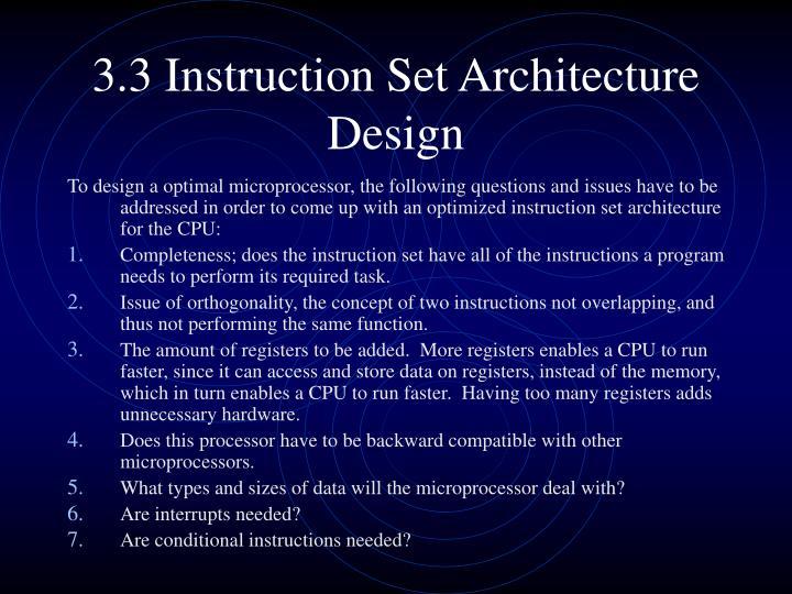3.3 Instruction Set Architecture Design