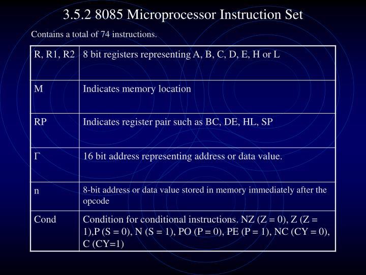 3.5.2 8085 Microprocessor Instruction Set