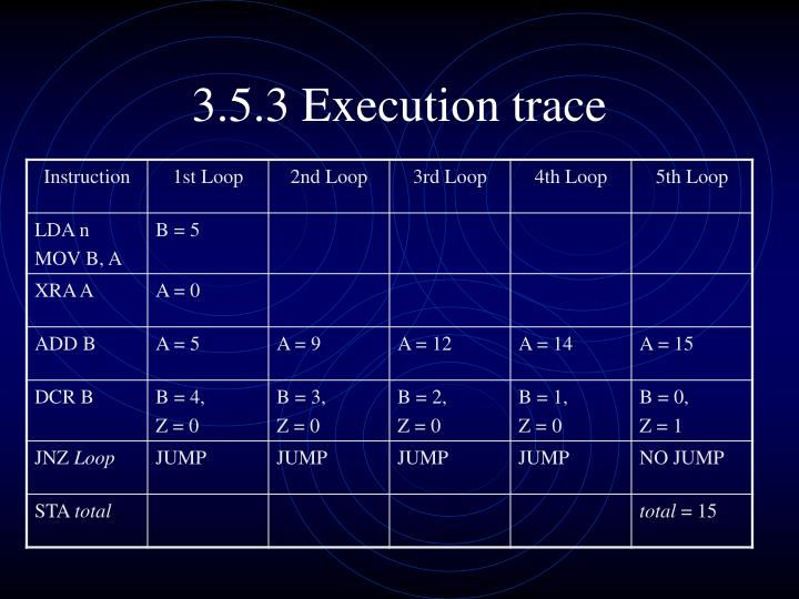 3.5.3 Execution trace