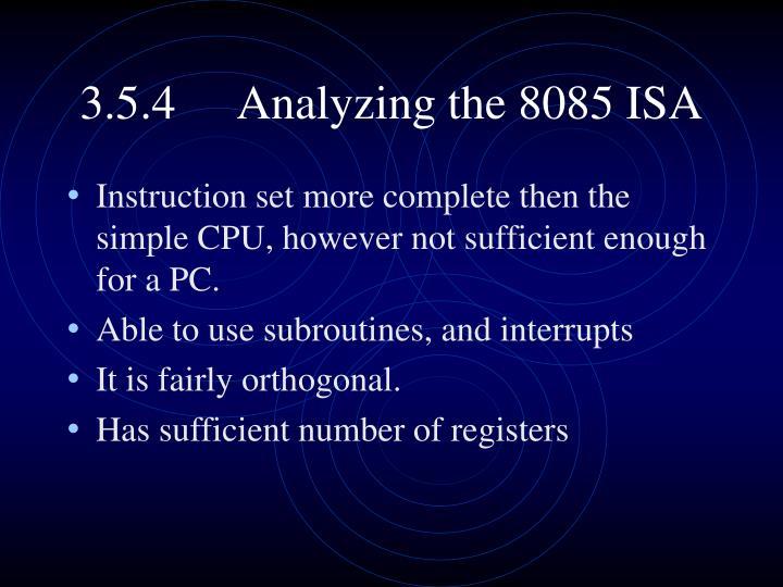 3.5.4Analyzing the 8085 ISA