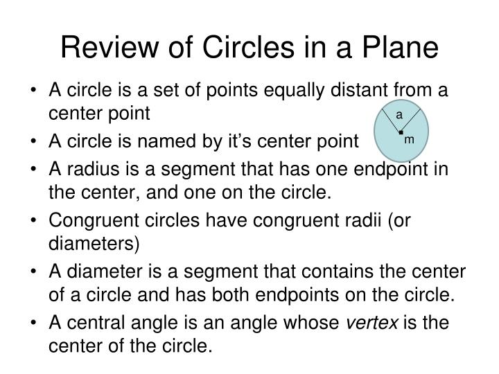 Review of Circles in a Plane
