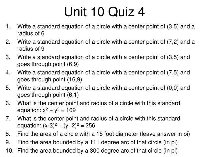 Unit 10 Quiz 4