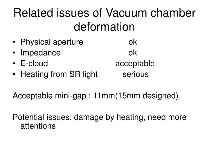 Related issues of Vacuum chamber deformation