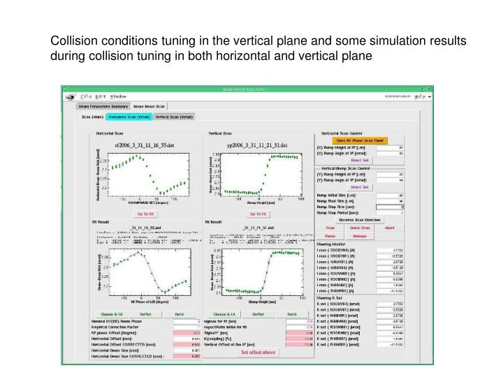 Collision conditions tuning in the vertical plane and some simulation results