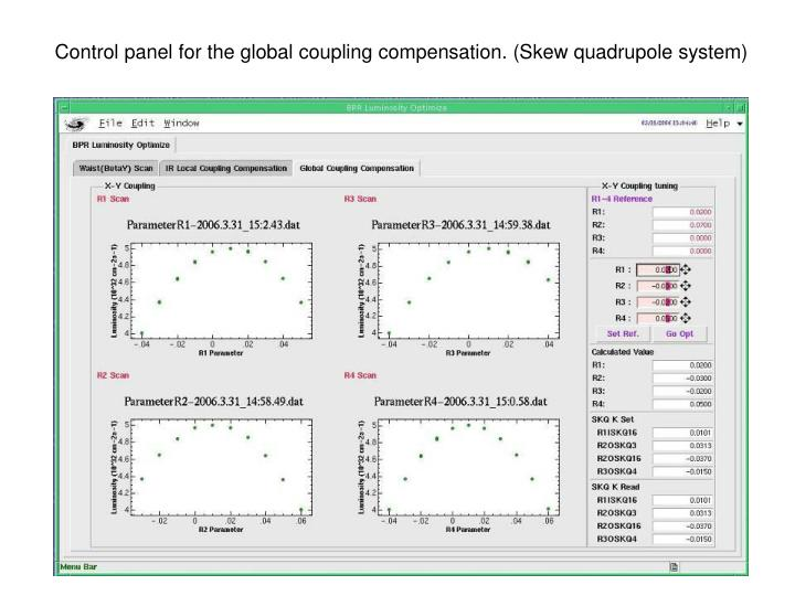 Control panel for the global coupling compensation. (Skew quadrupole system)