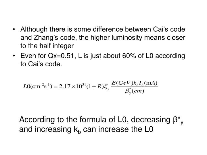 Although there is some difference between Cai's code and Zhang's code, the higher luminosity means closer to the half integer