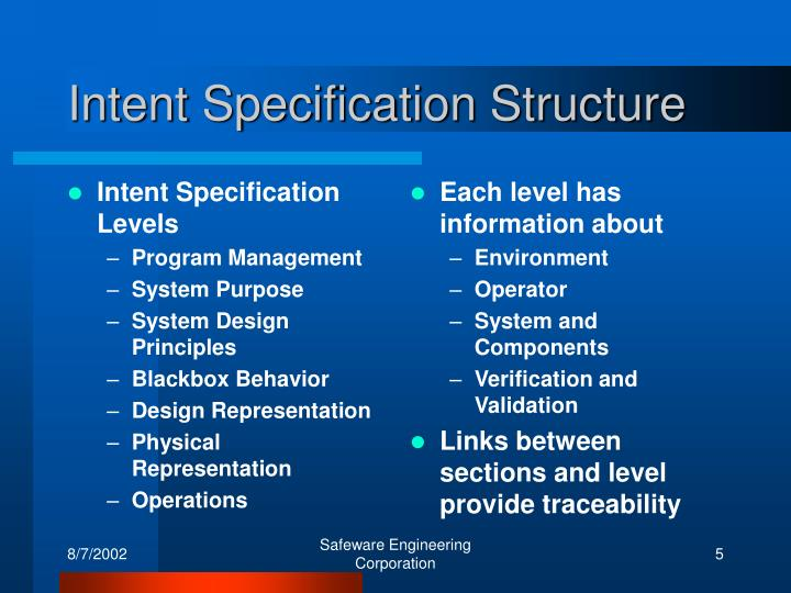 Intent Specification Levels