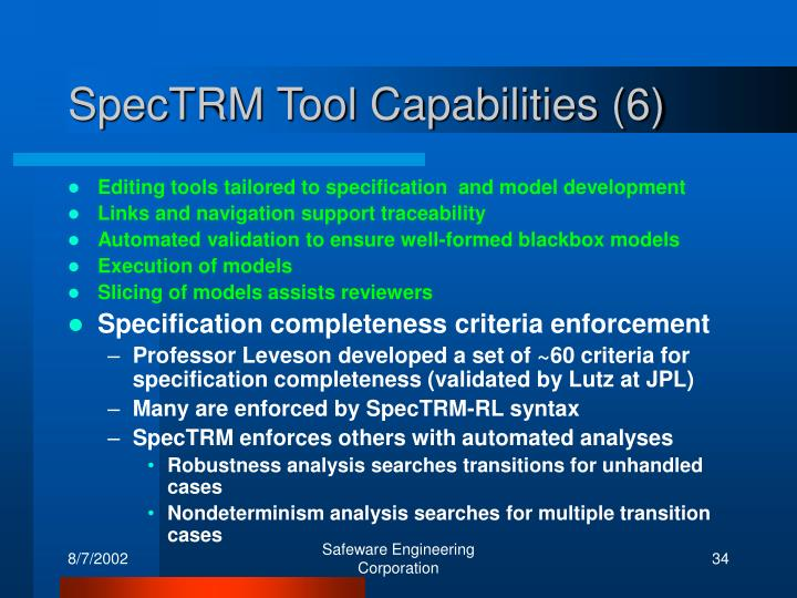 SpecTRM Tool Capabilities (6)
