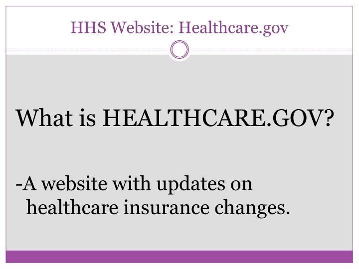 HHS Website: Healthcare.gov