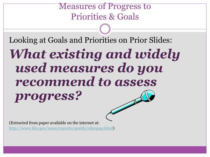 Measures of Progress to