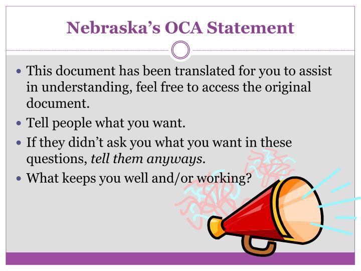 Nebraska's OCA Statement