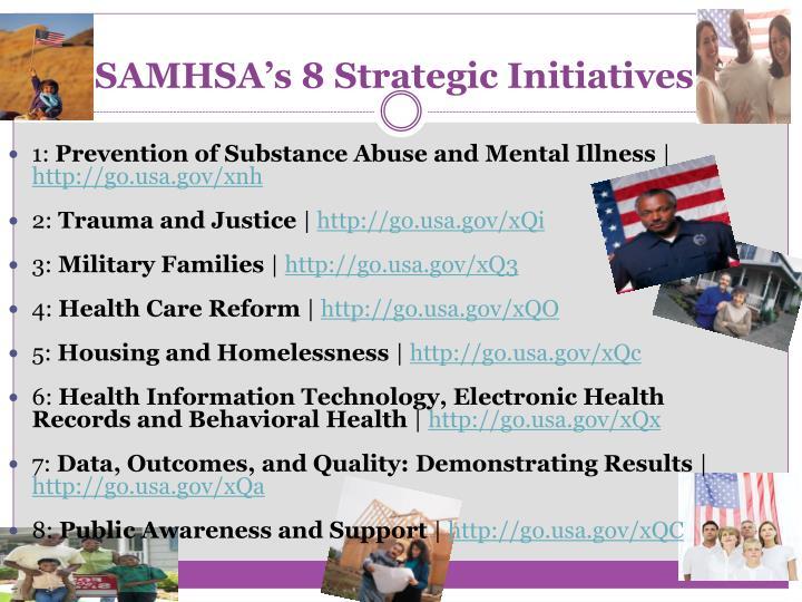 SAMHSA's 8 Strategic Initiatives