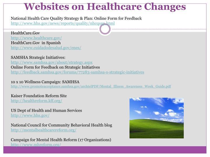 Websites on Healthcare Changes