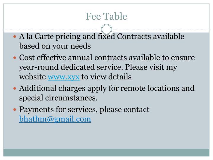 Fee Table