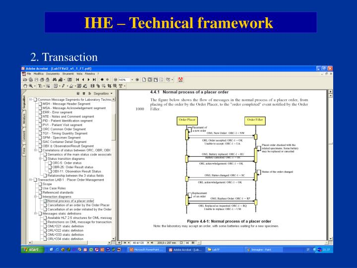 IHE – Technical framework