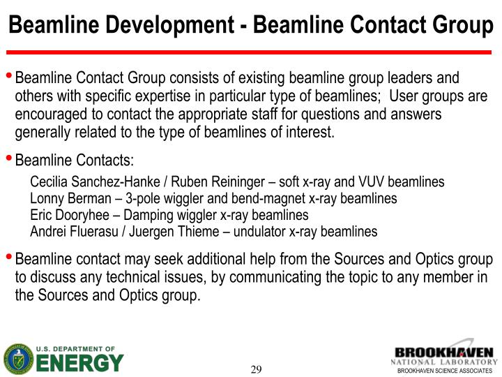 Beamline Development - Beamline Contact Group