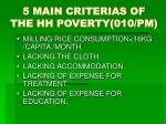 5 main criterias of the hh poverty 010 pm