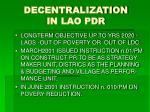 decentralization in lao pdr
