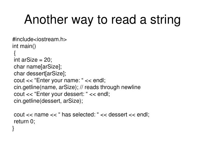 Another way to read a string
