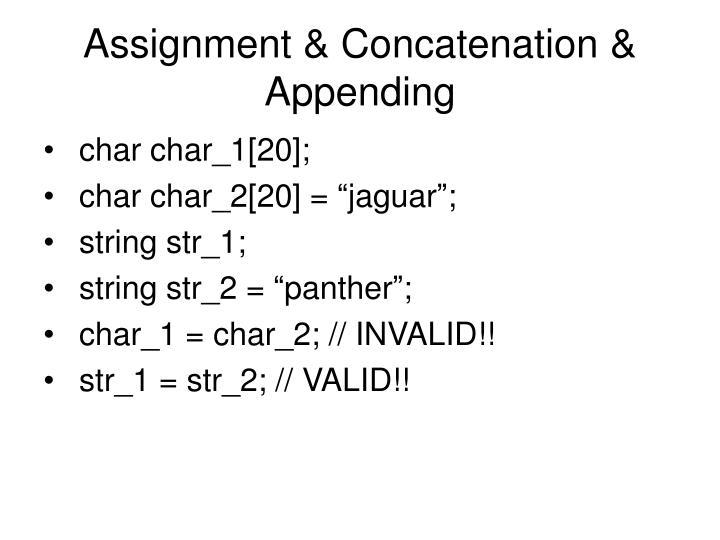 Assignment & Concatenation & Appending