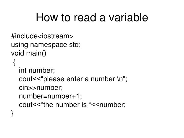 How to read a variable