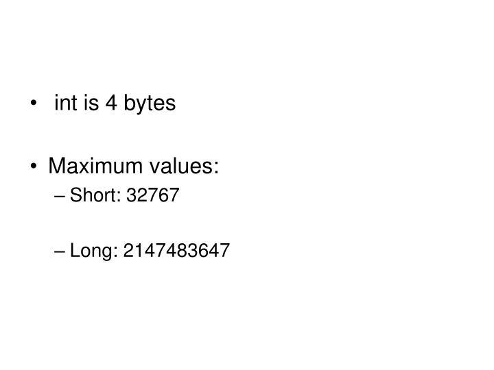int is 4 bytes