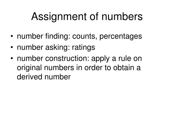 Assignment of numbers