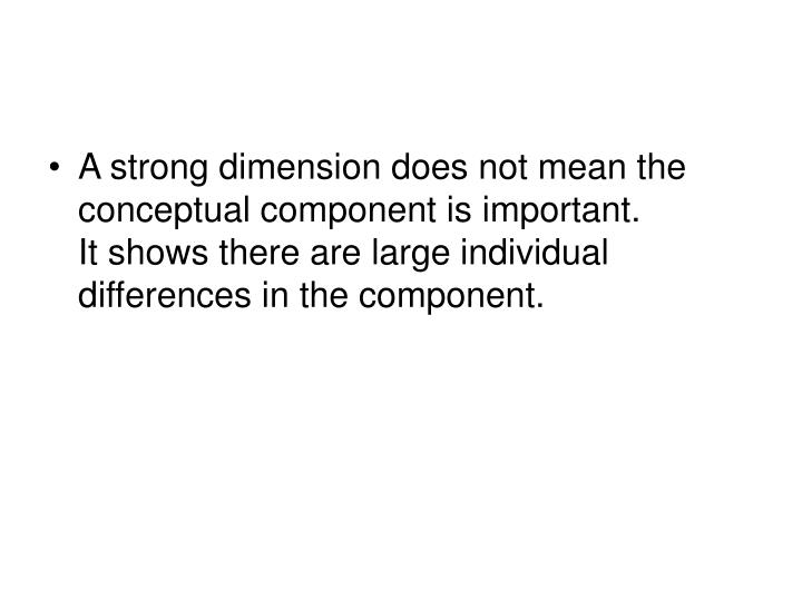 A strong dimension does not mean the conceptual component is important.