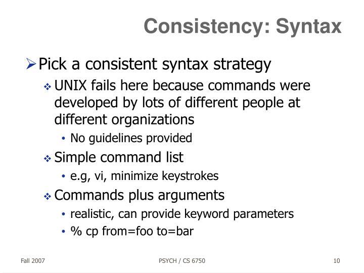 Consistency: Syntax