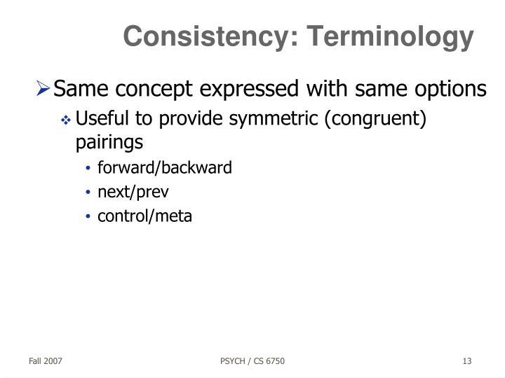 Consistency: Terminology