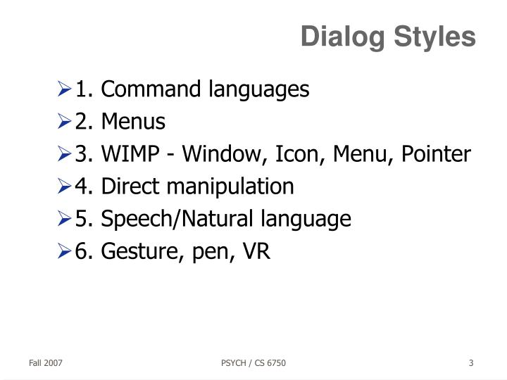 Dialog styles