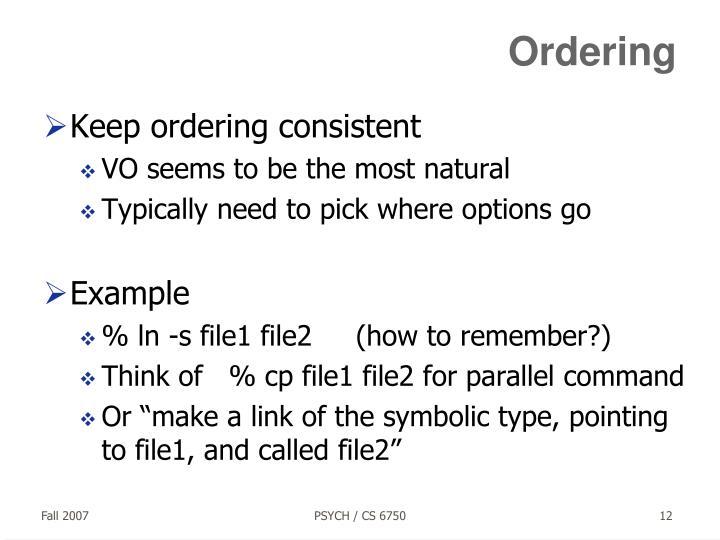 Ordering
