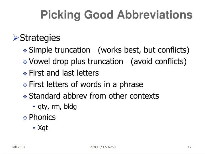 Picking Good Abbreviations