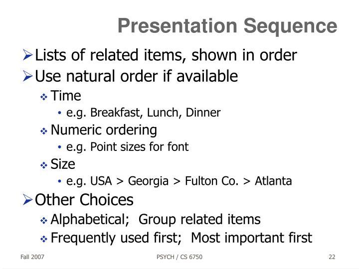 Presentation Sequence