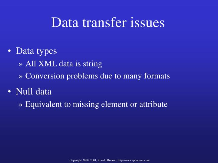 Data transfer issues