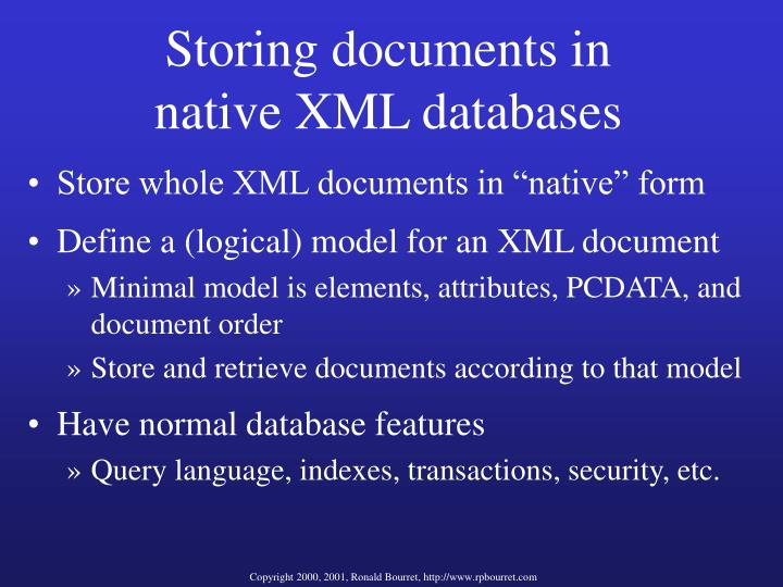Storing documents in