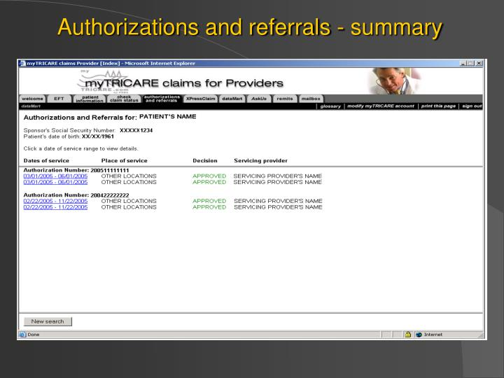 Authorizations and referrals - summary