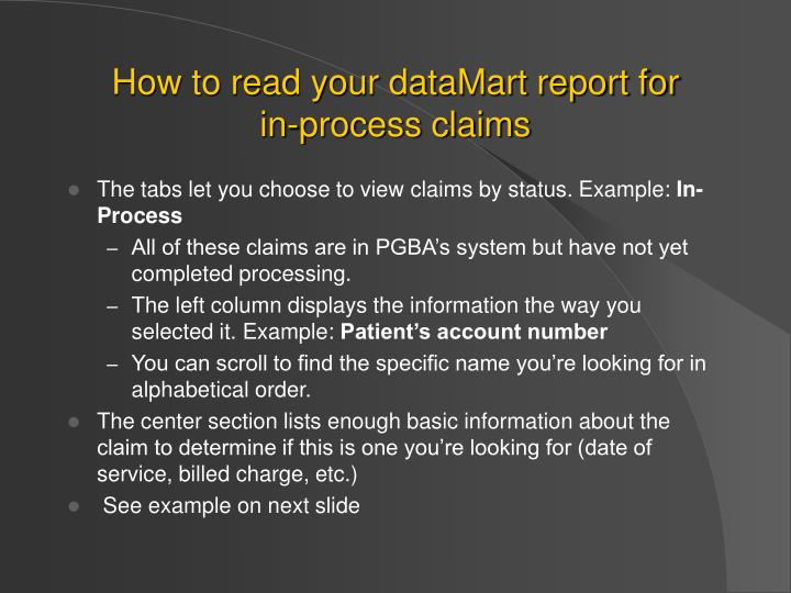 How to read your dataMart report for