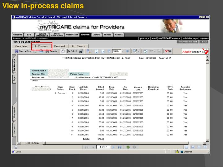 View in-process claims