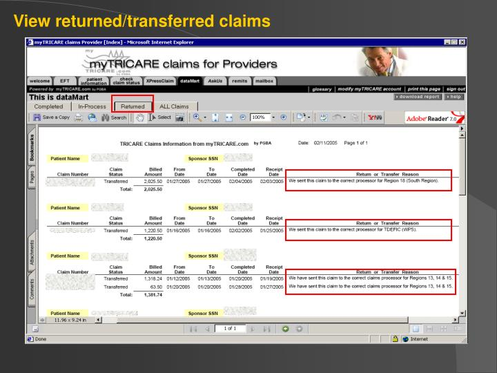 View returned/transferred claims
