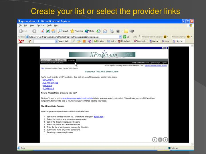 Create your list or select the provider links