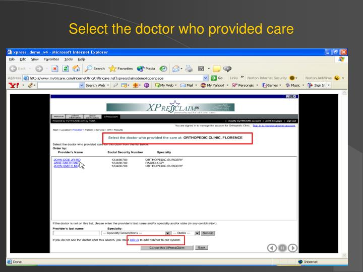 Select the doctor who provided care