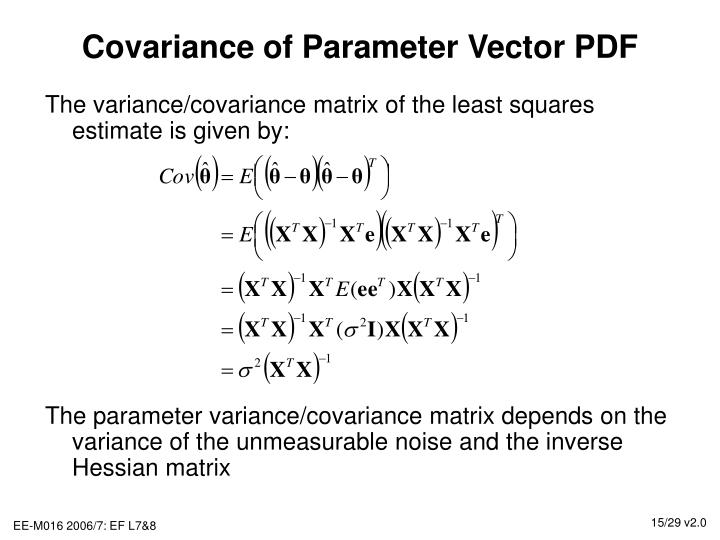 Covariance of Parameter Vector PDF