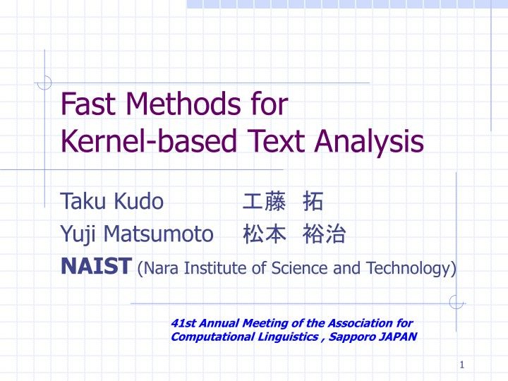 Fast methods for kernel based text analysis