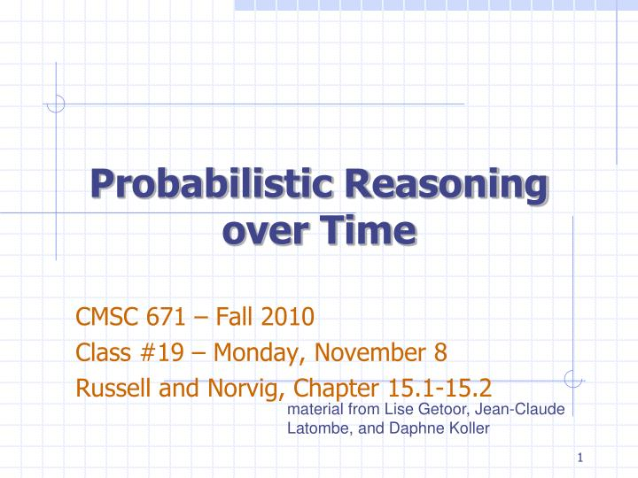 probabilistic reasoning over time n.